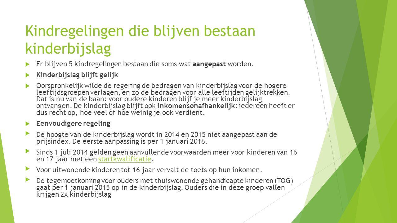 Kindgebonden budget  Kindgebonden budget gaat omhoog Alleenstaande ouders krijgen vanaf 1 januari 2015 60€ extra kindgebonden budget.