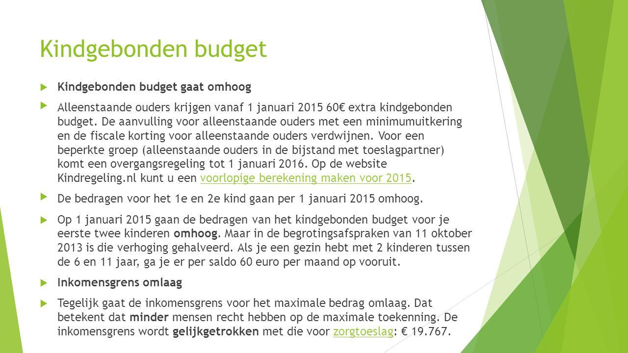 Kindgebonden budget  Kindgebonden budget gaat omhoog Alleenstaande ouders krijgen vanaf 1 januari 2015 60€ extra kindgebonden budget. De aanvulling