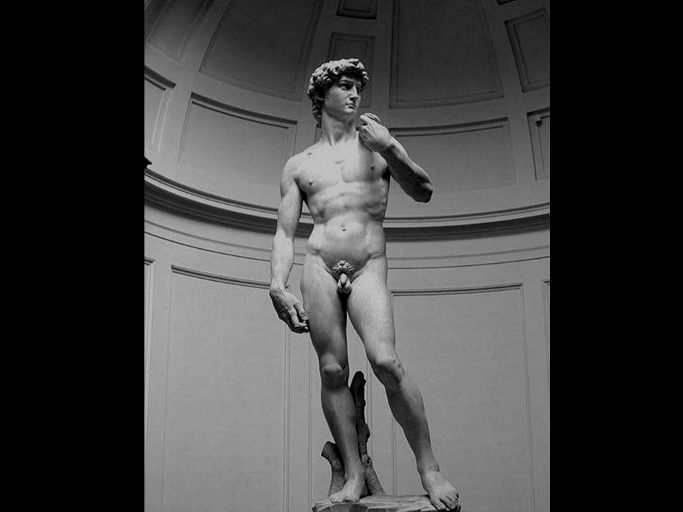 Dit Carrara-marmeren beeld is 4,09 m hoog. David wacht met uitdagende blik de komst van Goliath af.