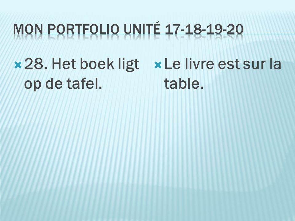  28. Het boek ligt op de tafel.  Le livre est sur la table.