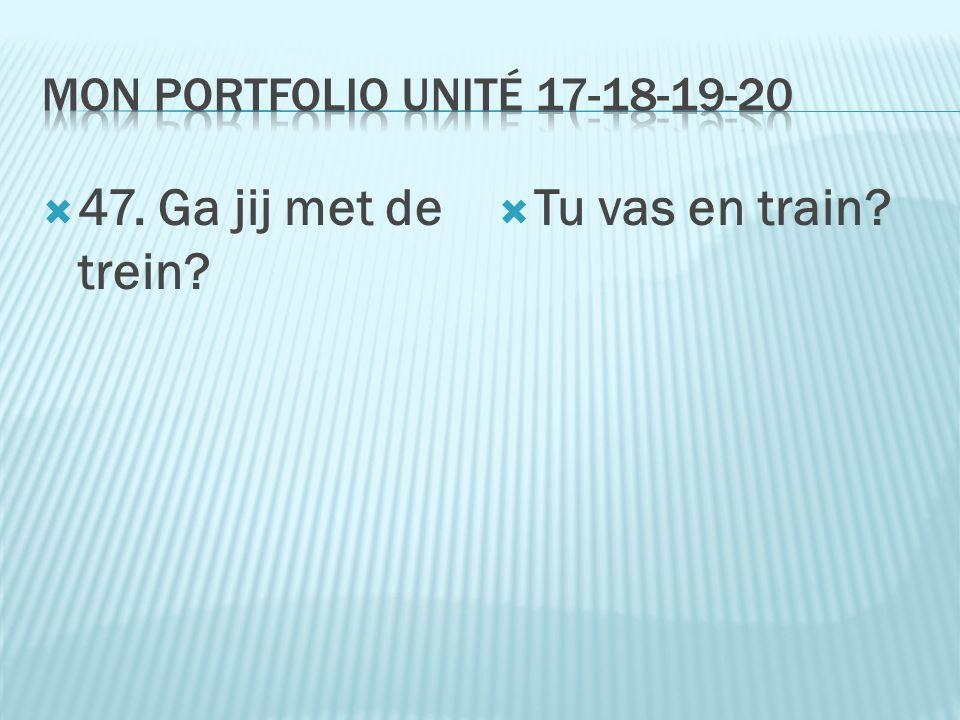  47. Ga jij met de trein?  Tu vas en train?