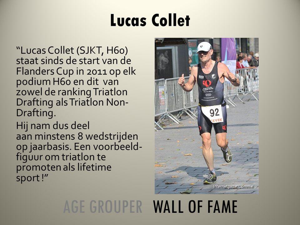 Lucas Collet (SJKT, H60) staat sinds de start van de Flanders Cup in 2011 op elk podium H60 en dit van zowel de ranking Triatlon Drafting als Triatlon Non- Drafting.