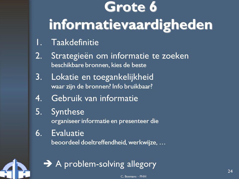 C. Bosmans - PHH 24 Grote 6 informatievaardigheden 1.Taakdefinitie 2.Strategieën om informatie te zoeken beschikbare bronnen, kies de beste 3.Lokatie