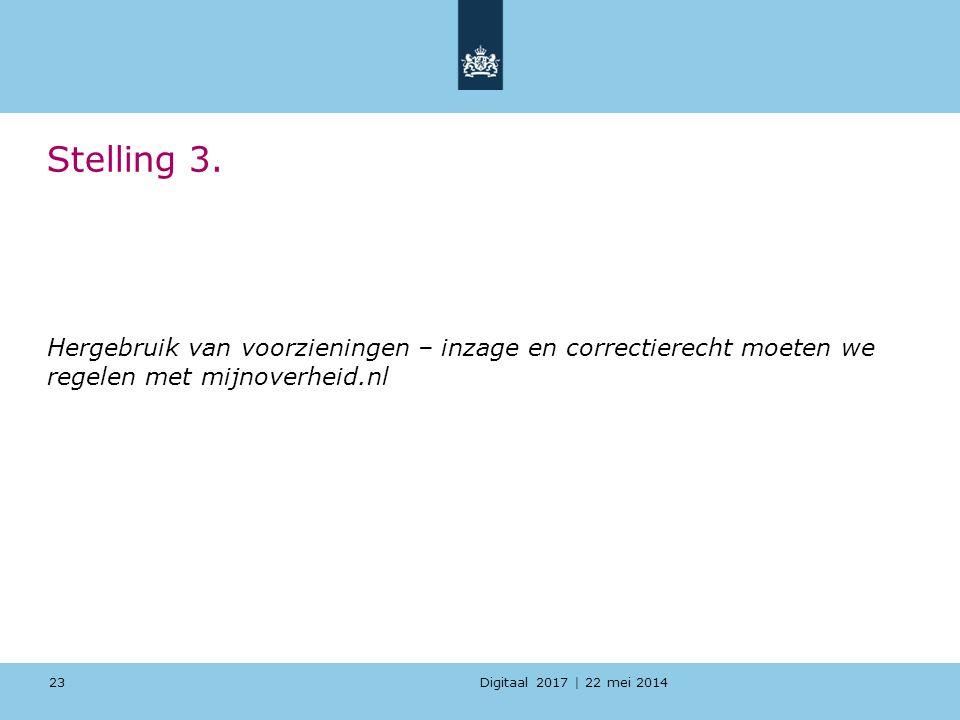 Digitaal 2017 | 22 mei 2014 Stelling 3. Hergebruik van voorzieningen – inzage en correctierecht moeten we regelen met mijnoverheid.nl 23