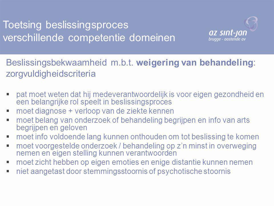 Toetsing beslissingsproces verschillende competentie domeinen Beslissingsbekwaamheid m.b.t. weigering van behandeling: zorgvuldigheidscriteria  pat m