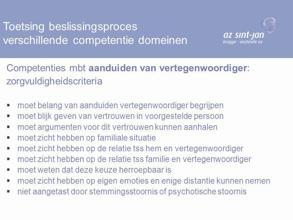 Toetsing beslissingsproces verschillende competentie domeinen Competenties mbt aanduiden van vertegenwoordiger: zorgvuldigheidscriteria  moet belang
