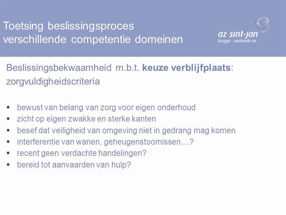 Toetsing beslissingsproces verschillende competentie domeinen Beslissingsbekwaamheid m.b.t. keuze verblijfplaats: zorgvuldigheidscriteria  bewust van