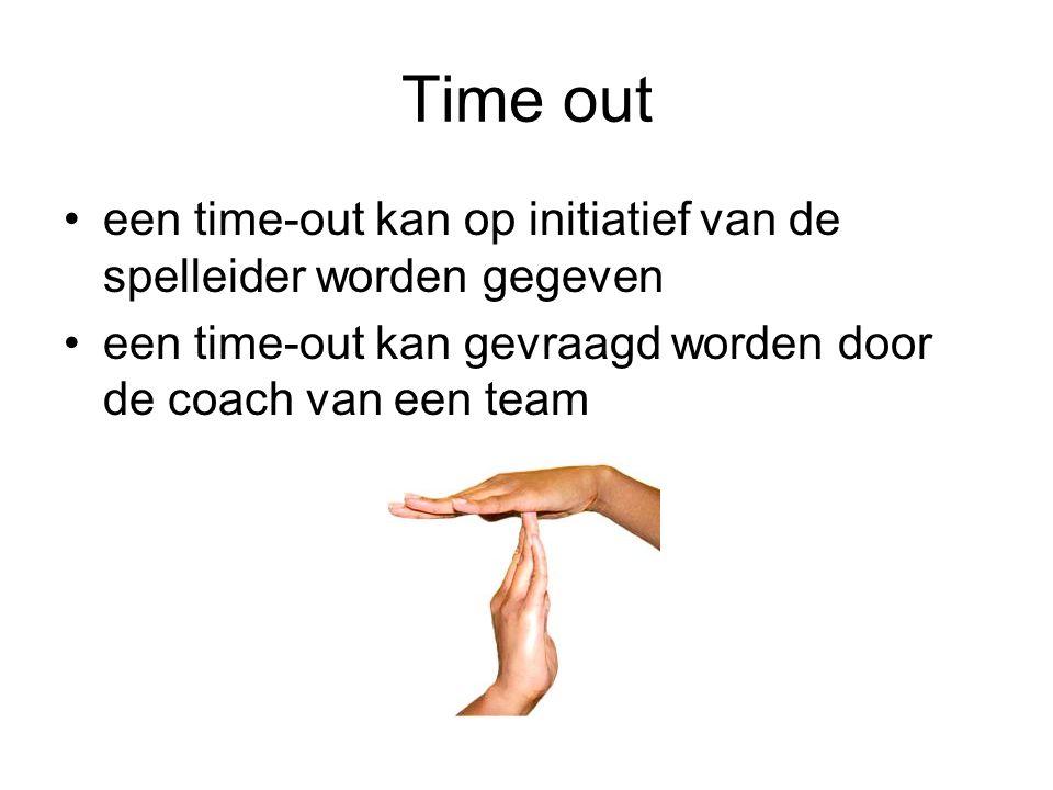 Time out een time-out kan op initiatief van de spelleider worden gegeven een time-out kan gevraagd worden door de coach van een team