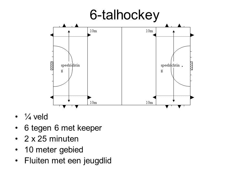 6-talhockey ¼ veld 6 tegen 6 met keeper 2 x 25 minuten 10 meter gebied Fluiten met een jeugdlid. speelrichtin g 10m