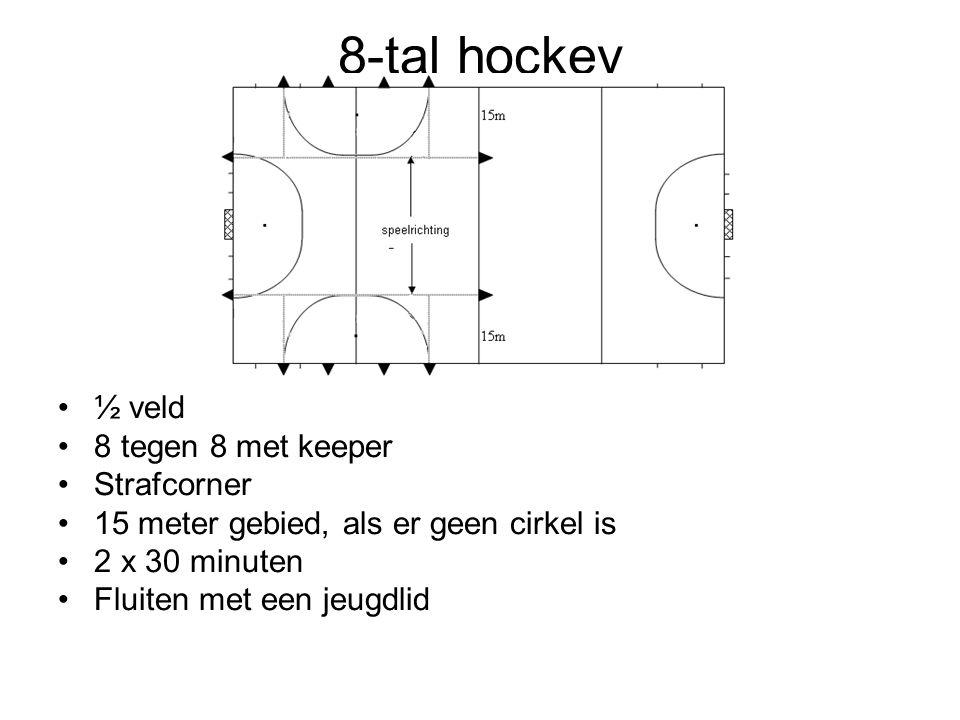 8-tal hockey ½ veld 8 tegen 8 met keeper Strafcorner 15 meter gebied, als er geen cirkel is 2 x 30 minuten Fluiten met een jeugdlid