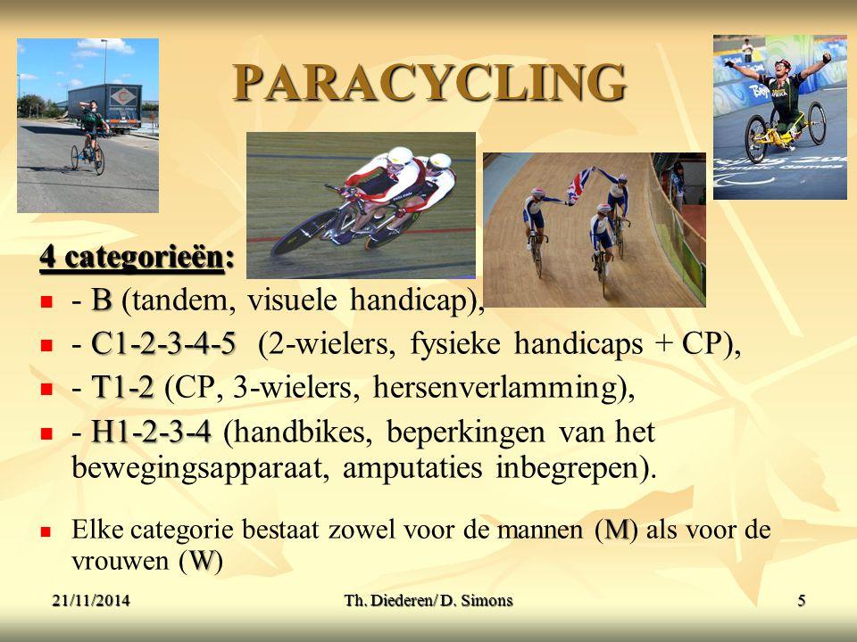 PARACYCLING 4 categorieën: : B - B (tandem, visuele handicap), C1-2-3-4-5 - C1-2-3-4-5 (2-wielers, fysieke handicaps + CP), T1-2 - T1-2 (CP, 3-wielers, hersenverlamming), H1-2-3-4 - H1-2-3-4 (handbikes, beperkingen van het bewegingsapparaat, amputaties inbegrepen).