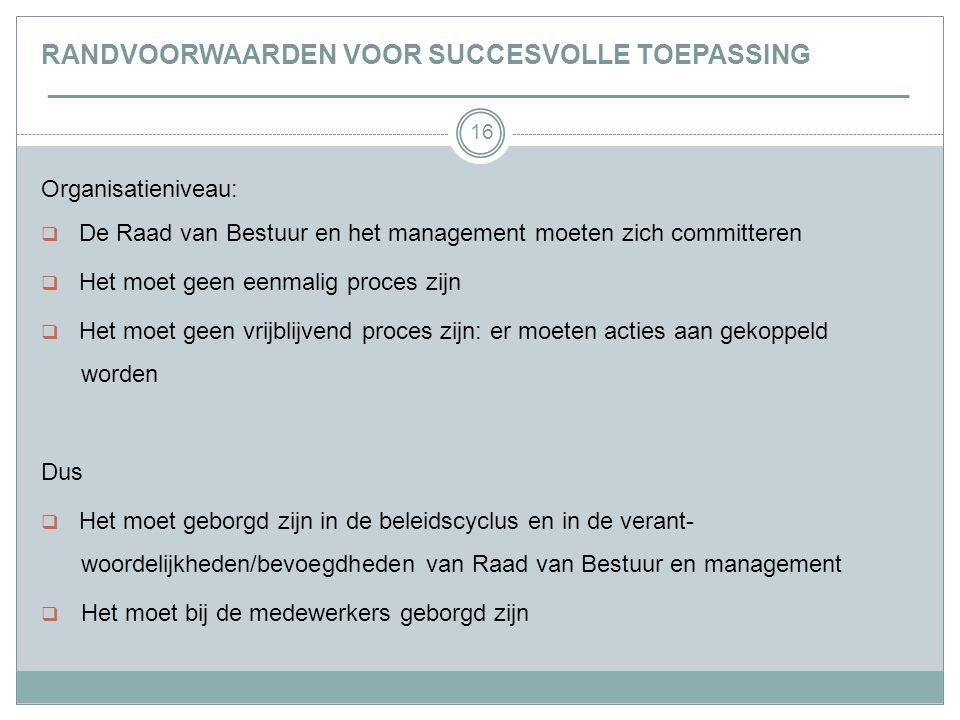 16 RANDVOORWAARDEN VOOR SUCCESVOLLE TOEPASSING _________________________________________________________________ Organisatieniveau:  De Raad van Bestuur en het management moeten zich committeren  Het moet geen eenmalig proces zijn  Het moet geen vrijblijvend proces zijn: er moeten acties aan gekoppeld worden Dus  Het moet geborgd zijn in de beleidscyclus en in de verant- woordelijkheden/bevoegdheden van Raad van Bestuur en management  Het moet bij de medewerkers geborgd zijn