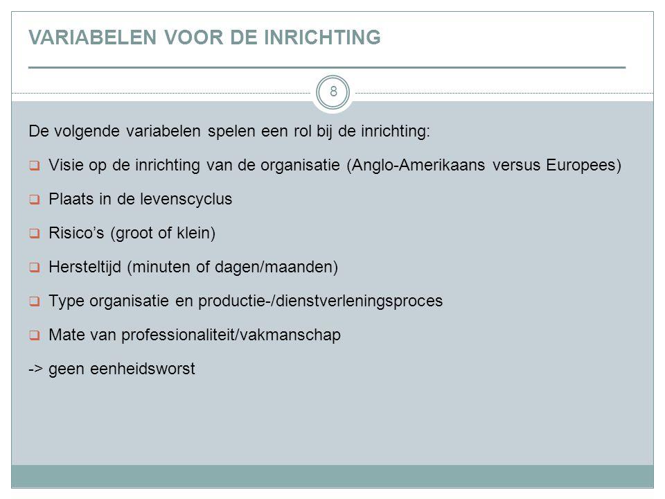 VARIABELEN VOOR DE INRICHTING _________________________________________________________________ 8 De volgende variabelen spelen een rol bij de inrichting:  Visie op de inrichting van de organisatie (Anglo-Amerikaans versus Europees)  Plaats in de levenscyclus  Risico's (groot of klein)  Hersteltijd (minuten of dagen/maanden)  Type organisatie en productie-/dienstverleningsproces  Mate van professionaliteit/vakmanschap -> geen eenheidsworst