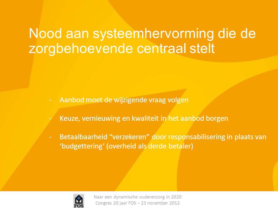 Naar een dynamische ouderenzorg in 2020 Congres 20 jaar FOS – 23 november 2012 Nood aan systeemhervorming die de zorgbehoevende centraal stelt -Aanbod