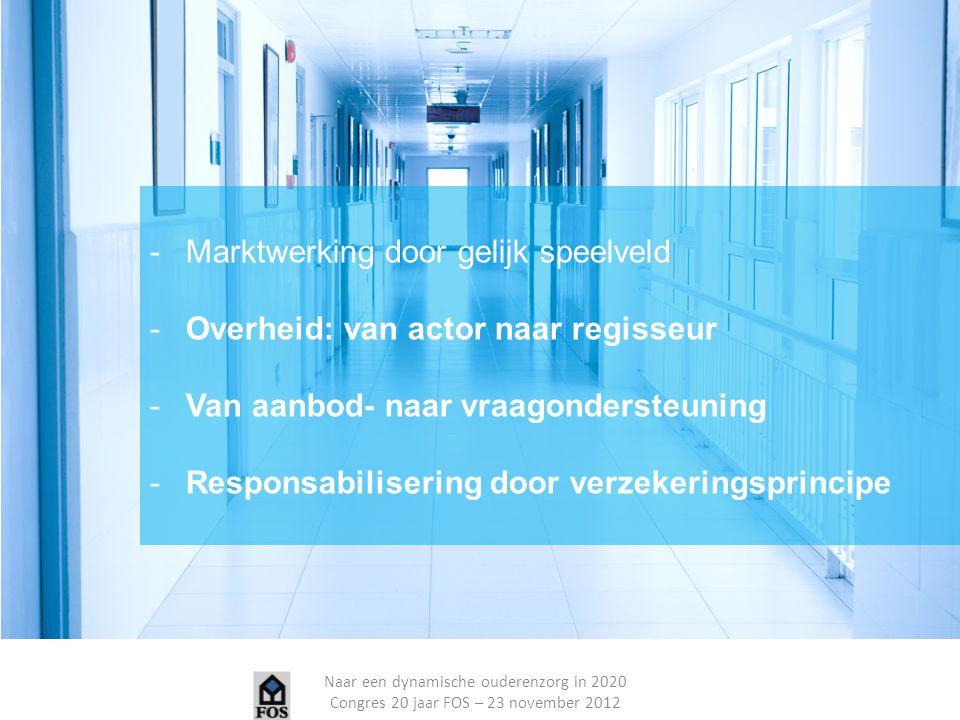 Naar een dynamische ouderenzorg in 2020 Congres 20 jaar FOS – 23 november 2012 Nood aan systeemhevorming die de zorgbehoevende centraal stelt -Aanbod