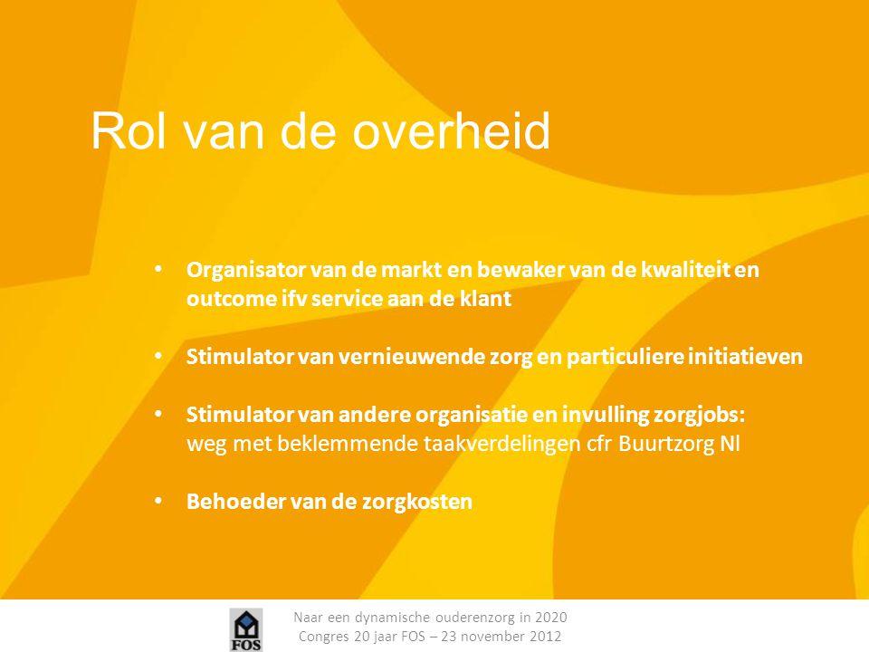 Naar een dynamische ouderenzorg in 2020 Congres 20 jaar FOS – 23 november 2012 Rol van de overheid Organisator van de markt en bewaker van de kwalitei