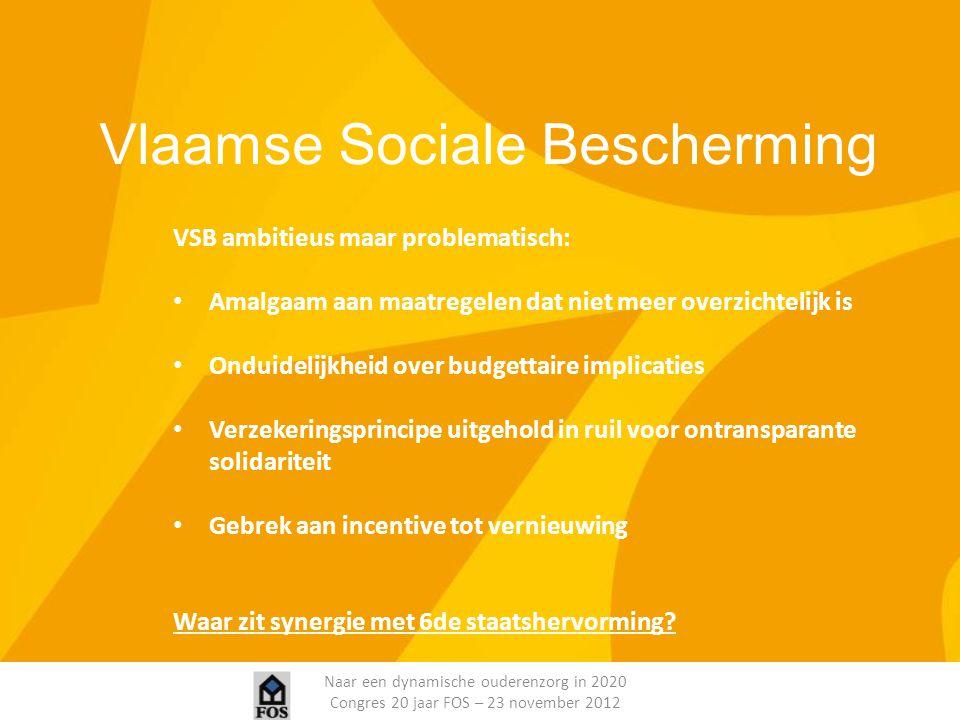 Naar een dynamische ouderenzorg in 2020 Congres 20 jaar FOS – 23 november 2012 Vlaamse Sociale Bescherming VSB ambitieus maar problematisch: Amalgaam