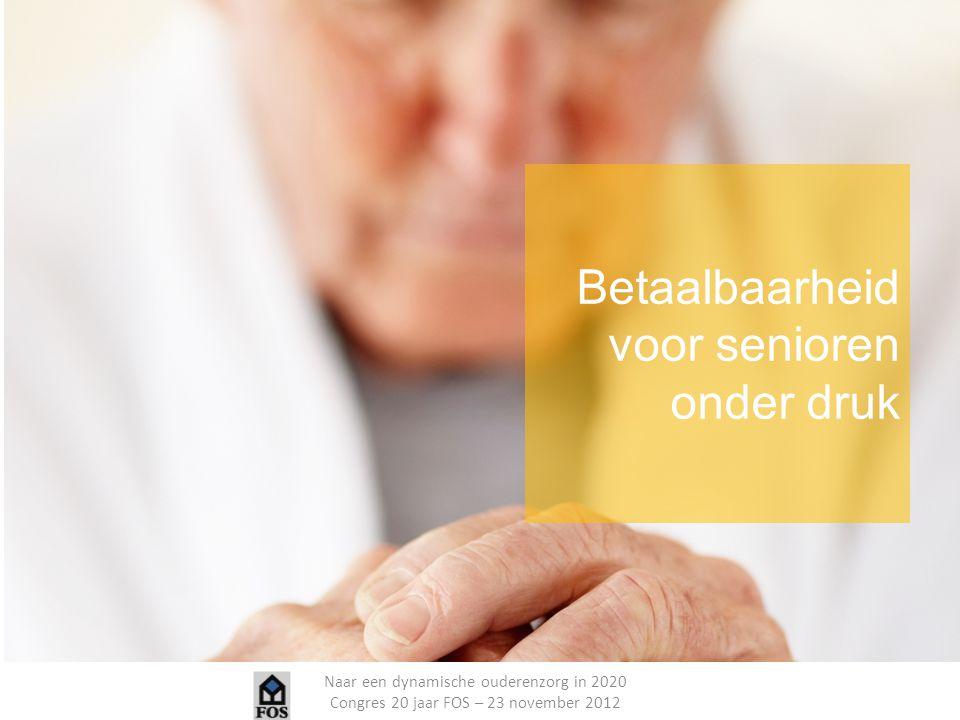 Naar een dynamische ouderenzorg in 2020 Congres 20 jaar FOS – 23 november 2012 Responsabilisering van de klant Stimuleren van verzekeringsprincipe voor zorg Basisvoorzieningen door overheid goed omschrijven Transparantie en publieke communicatie over kosten en kwaliteit aangeboden zorg Stimuleren van 'nu al zorgen voor later' en 'zorgen voor je eigen lichaam'