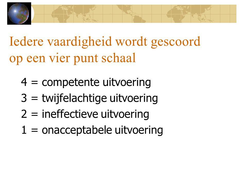 Iedere vaardigheid wordt gescoord op een vier punt schaal 4 = competente uitvoering 3 = twijfelachtige uitvoering 2 = ineffectieve uitvoering 1 = onacceptabele uitvoering