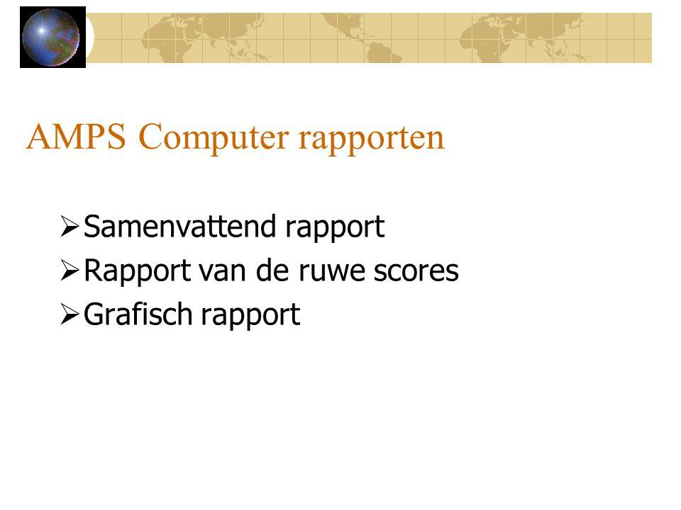 AMPS Computer rapporten  Samenvattend rapport  Rapport van de ruwe scores  Grafisch rapport