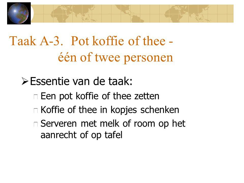 Taak A-3. Pot koffie of thee - één of twee personen  Essentie van de taak: – Een pot koffie of thee zetten – Koffie of thee in kopjes schenken – Serv