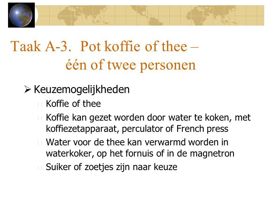 Taak A-3. Pot koffie of thee – één of twee personen  Keuzemogelijkheden – Koffie of thee – Koffie kan gezet worden door water te koken, met koffiezet