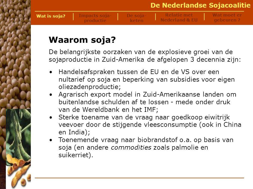 De Nederlandse Sojacoalitie De lokale effecten van de sojaproductie in Zuid-Amerika zijn onder te verdelen in: Impacts van sojaproductie impacts tijdens de ontginning: gedwongen onteigening (sociaal-economisch) ontbossing (ecologisch) slavernij (sociaal) gevolgen tijdens de productie: vervuiling en erosie (ecologisch) werkloosheid en migratie (sociaal-economisch) honger (sociaal-economisch) genetische modificatie (sociaal-economisch) Wat is soja.