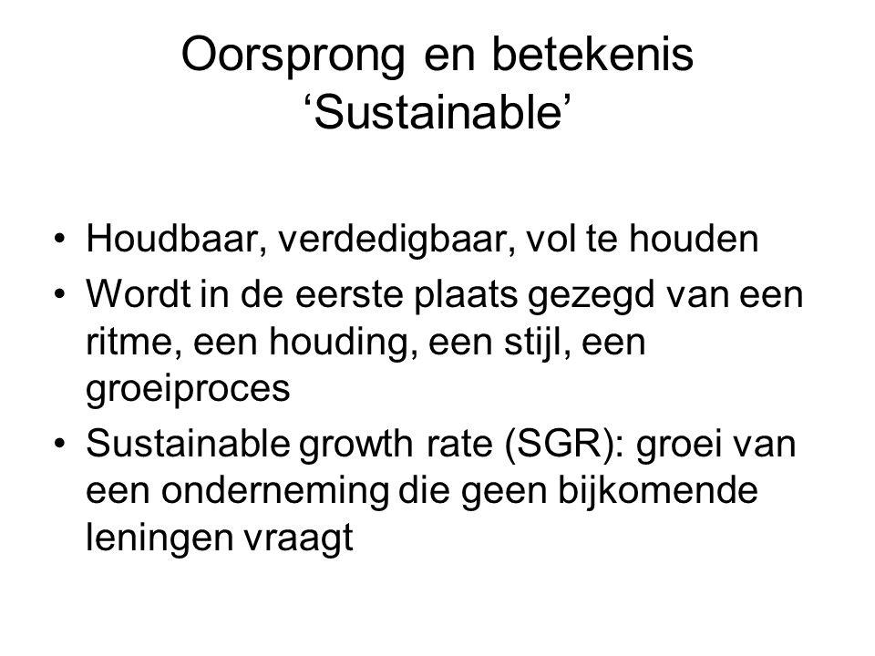 Oorsprong en betekenis 'Sustainable' Houdbaar, verdedigbaar, vol te houden Wordt in de eerste plaats gezegd van een ritme, een houding, een stijl, een groeiproces Sustainable growth rate (SGR): groei van een onderneming die geen bijkomende leningen vraagt