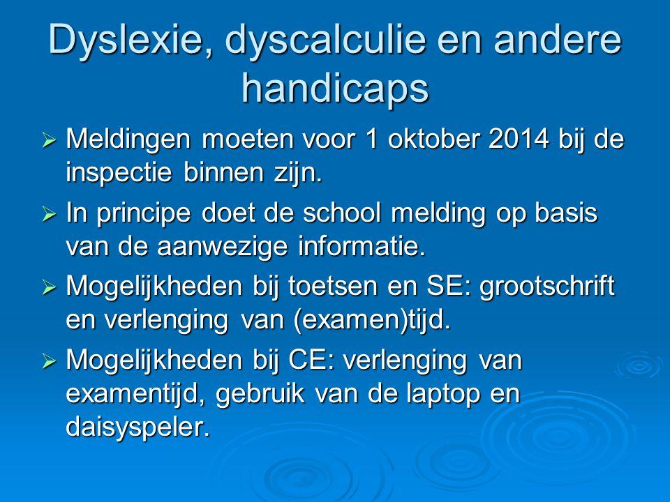 Dyslexie, dyscalculie en andere handicaps  Meldingen moeten voor 1 oktober 2014 bij de inspectie binnen zijn.  In principe doet de school melding op