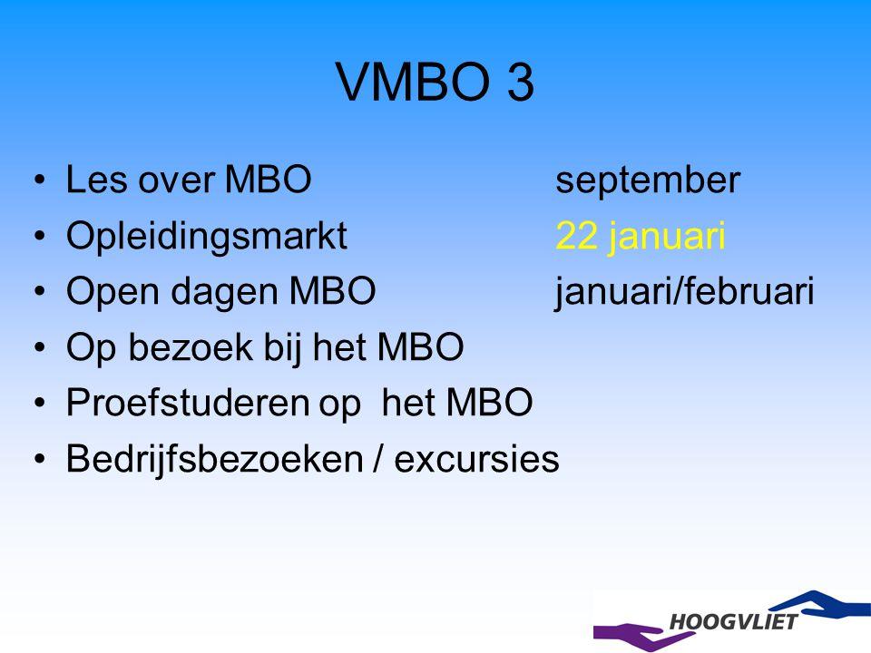 VMBO 3 Les over MBOseptember Opleidingsmarkt 22 januari Open dagen MBO januari/februari Op bezoek bij het MBO Proefstuderen op het MBO Bedrijfsbezoeke
