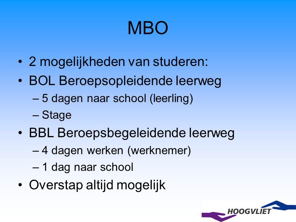 2 mogelijkheden van studeren: BOL Beroepsopleidende leerweg –5 dagen naar school (leerling) –Stage BBL Beroepsbegeleidende leerweg –4 dagen werken (we