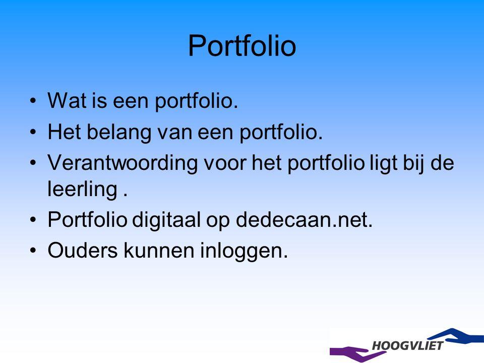Portfolio Wat is een portfolio. Het belang van een portfolio. Verantwoording voor het portfolio ligt bij de leerling. Portfolio digitaal op dedecaan.n