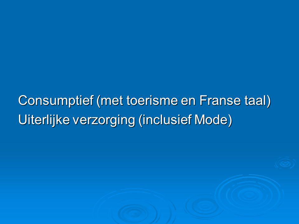 Consumptief (met toerisme en Franse taal) Uiterlijke verzorging (inclusief Mode)