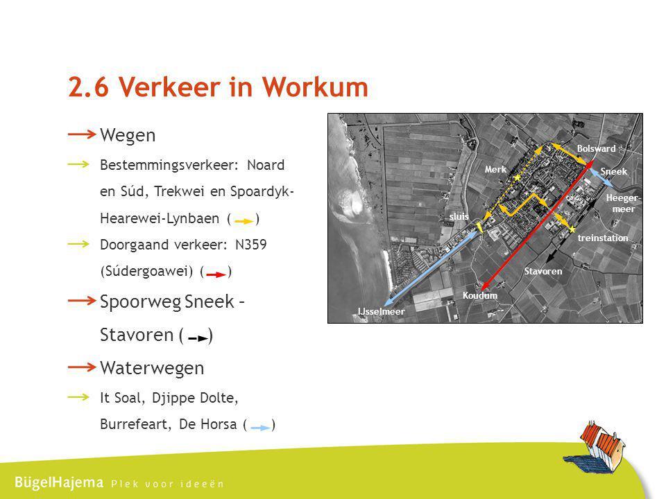 IJsselmeer sluis Merk treinstation Heeger- meer Bolsward Koudum Stavoren Sneek 2.6 Verkeer in Workum Wegen Bestemmingsverkeer: Noard en Súd, Trekwei en Spoardyk- Hearewei-Lynbaen ( ) Doorgaand verkeer: N359 (Súdergoawei) ( ) Spoorweg Sneek – Stavoren ( ) Waterwegen It Soal, Djippe Dolte, Burrefeart, De Horsa ( )