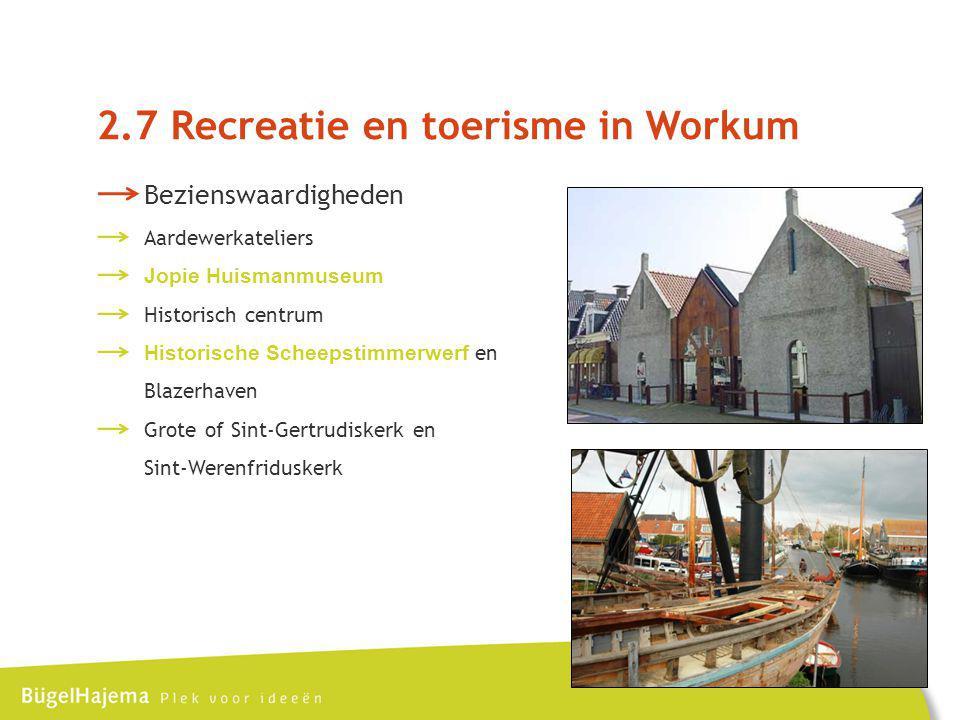 Bezienswaardigheden Aardewerkateliers Jopie Huismanmuseum Historisch centrum Historische Scheepstimmerwerf en Blazerhaven Grote of Sint-Gertrudiskerk en Sint-Werenfriduskerk 2.7 Recreatie en toerisme in Workum