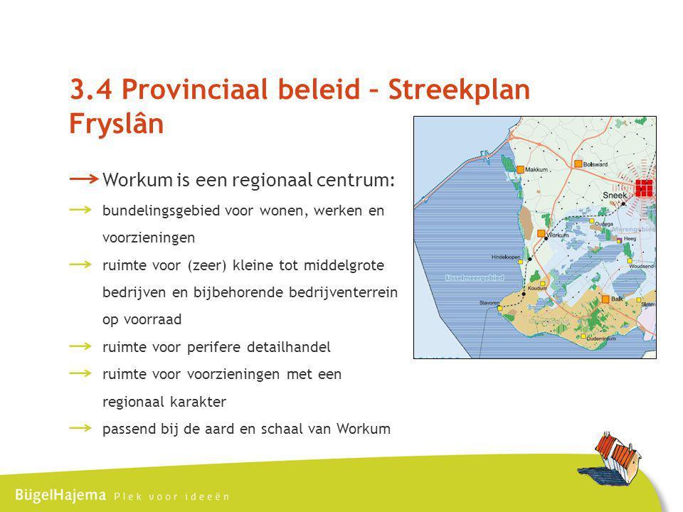 3.4 Provinciaal beleid – Streekplan Fryslân Workum is een regionaal centrum: bundelingsgebied voor wonen, werken en voorzieningen ruimte voor (zeer) kleine tot middelgrote bedrijven en bijbehorende bedrijventerrein op voorraad ruimte voor perifere detailhandel ruimte voor voorzieningen met een regionaal karakter passend bij de aard en schaal van Workum