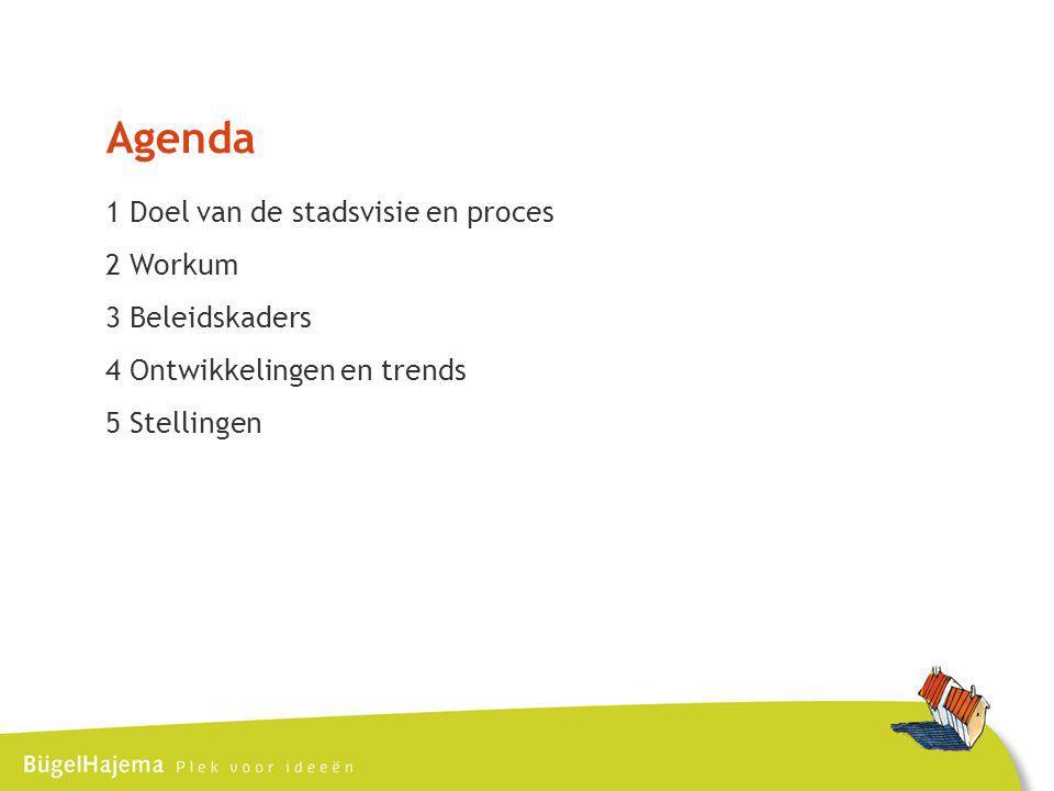 Agenda 1 Doel van de stadsvisie en proces 2 Workum 3 Beleidskaders 4 Ontwikkelingen en trends 5 Stellingen