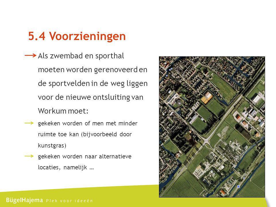 5.4 Voorzieningen Als zwembad en sporthal moeten worden gerenoveerd en de sportvelden in de weg liggen voor de nieuwe ontsluiting van Workum moet: gekeken worden of men met minder ruimte toe kan (bijvoorbeeld door kunstgras) gekeken worden naar alternatieve locaties, namelijk …