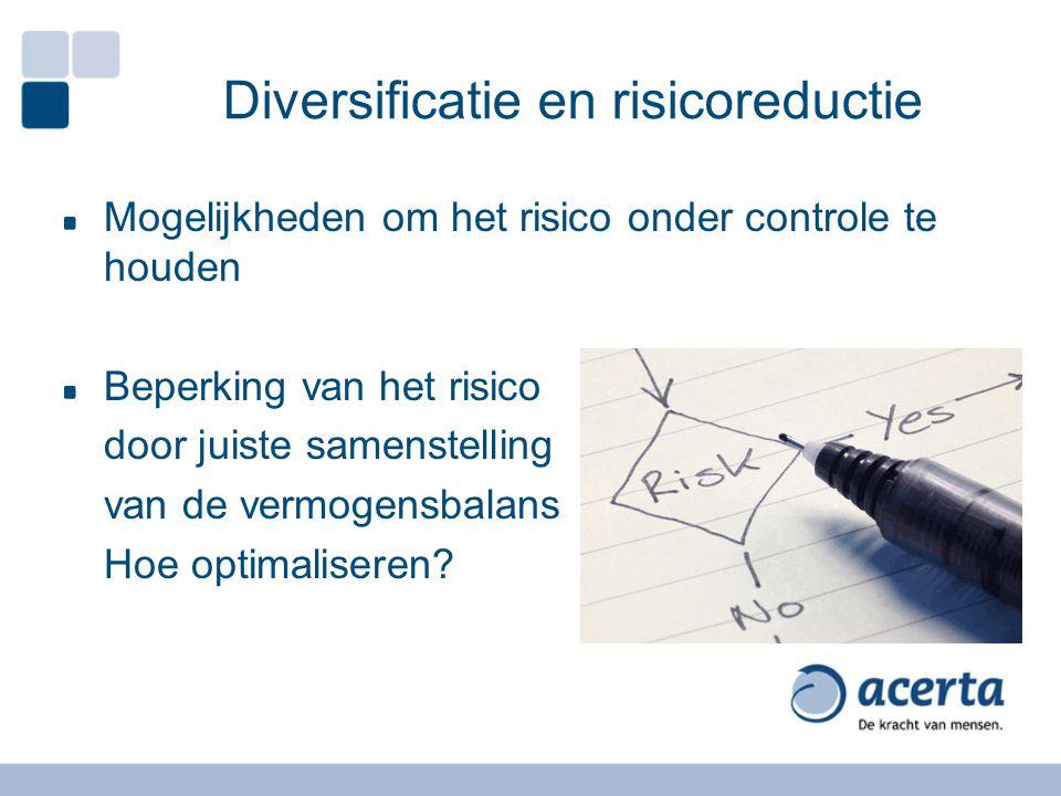 Diversificatie en risicoreductie Mogelijkheden om het risico onder controle te houden Beperking van het risico door juiste samenstelling van de vermogensbalans Hoe optimaliseren
