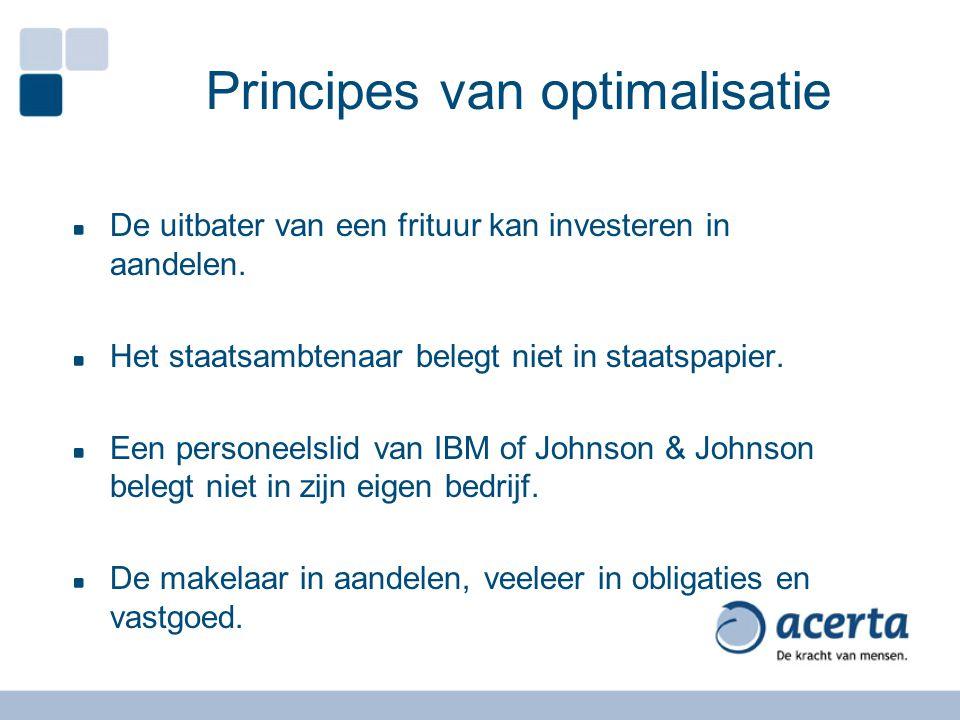 Principes van optimalisatie De uitbater van een frituur kan investeren in aandelen.