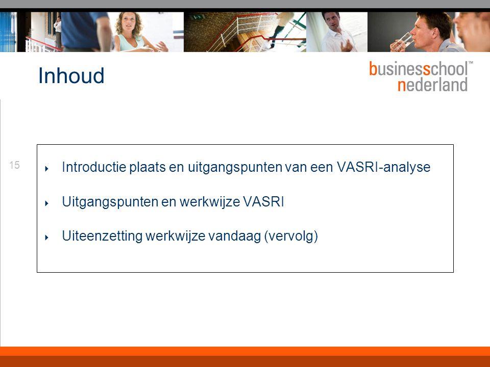 15 Inhoud  Introductie plaats en uitgangspunten van een VASRI-analyse  Uitgangspunten en werkwijze VASRI  Uiteenzetting werkwijze vandaag (vervolg)