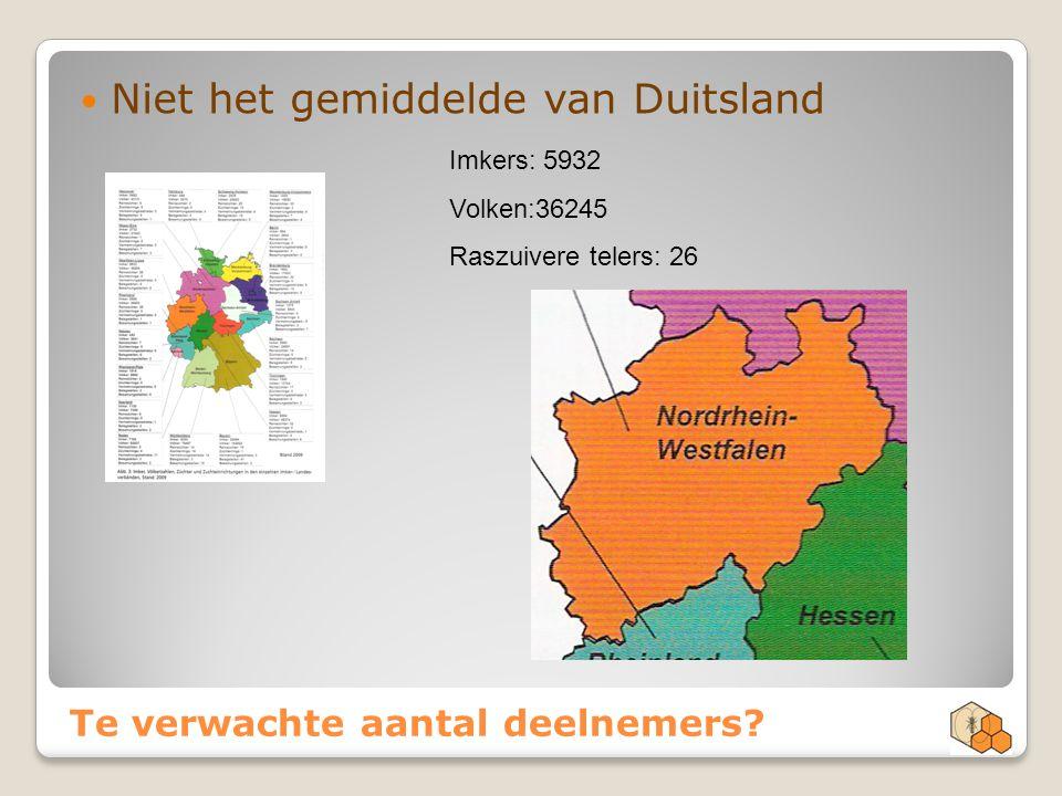 Te verwachte aantal deelnemers? Niet het gemiddelde van Duitsland Imkers: 5932 Volken:36245 Raszuivere telers: 26