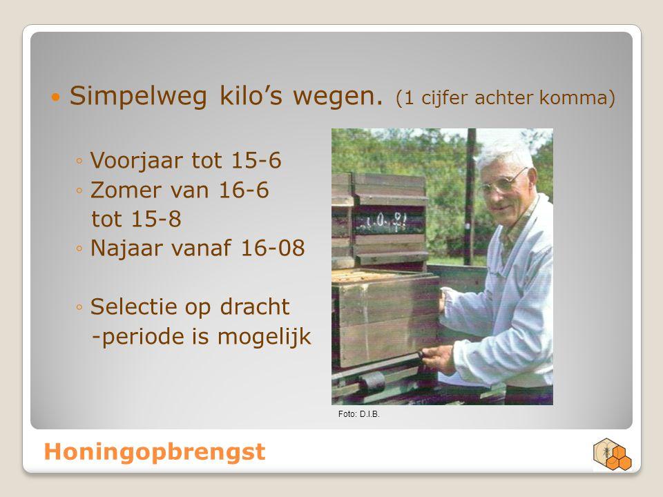 Honingopbrengst Simpelweg kilo's wegen. (1 cijfer achter komma) ◦Voorjaar tot 15-6 ◦Zomer van 16-6 tot 15-8 ◦Najaar vanaf 16-08 ◦Selectie op dracht -p