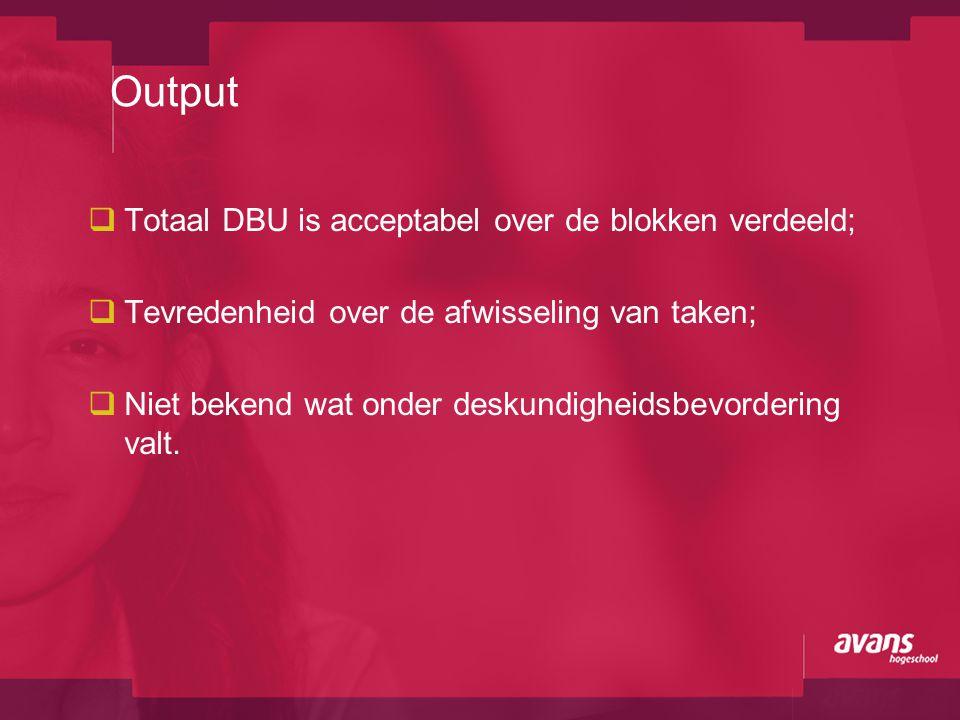  Totaal DBU is acceptabel over de blokken verdeeld;  Tevredenheid over de afwisseling van taken;  Niet bekend wat onder deskundigheidsbevordering v