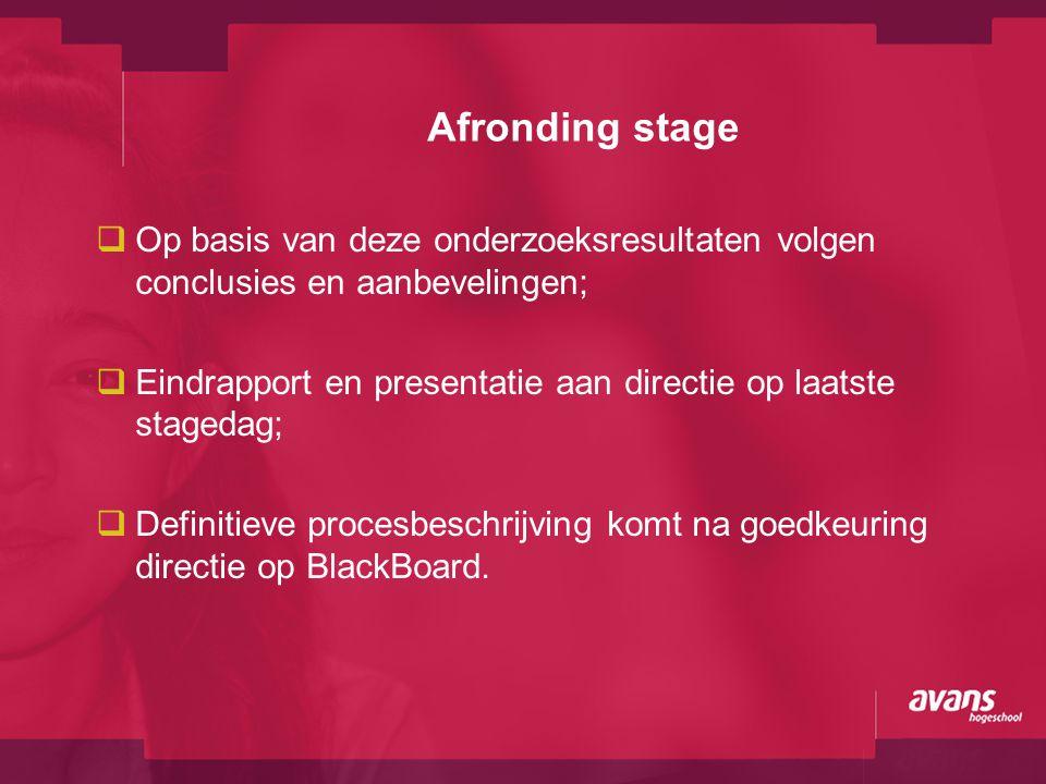 Afronding stage  Op basis van deze onderzoeksresultaten volgen conclusies en aanbevelingen;  Eindrapport en presentatie aan directie op laatste stag