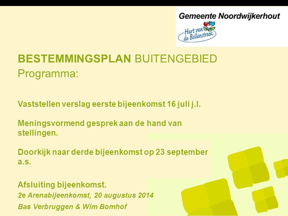 BESTEMMINGSPLAN BUITENGEBIED 2e Arenabijeenkomst, 20 augustus 2014 Bas Verbruggen & Wim Bomhof Programma: Vaststellen verslag eerste bijeenkomst 16 ju
