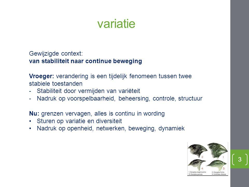variatie 3 Gewijzigde context: van stabiliteit naar continue beweging Vroeger: verandering is een tijdelijk fenomeen tussen twee stabiele toestanden -