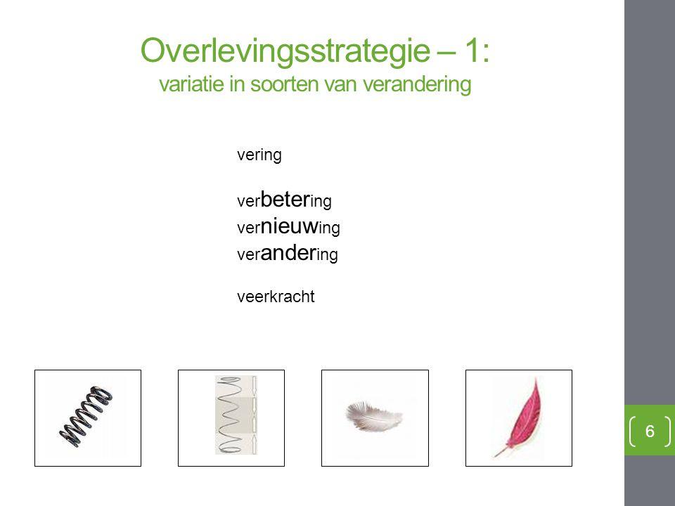 Overlevingsstrategie – 1: variatie in soorten van verandering 6 variatie vering ver beter ing ver nieuw ing ver ander ing veerkracht