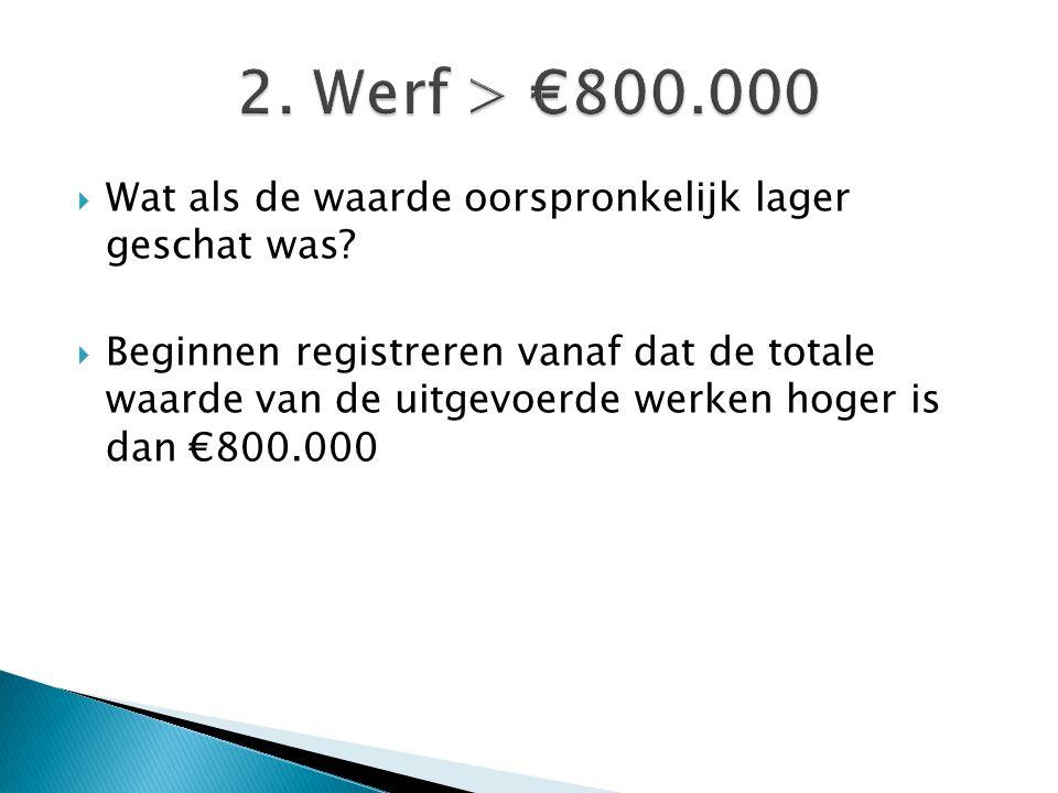  Wat als de waarde oorspronkelijk lager geschat was?  Beginnen registreren vanaf dat de totale waarde van de uitgevoerde werken hoger is dan €800.00