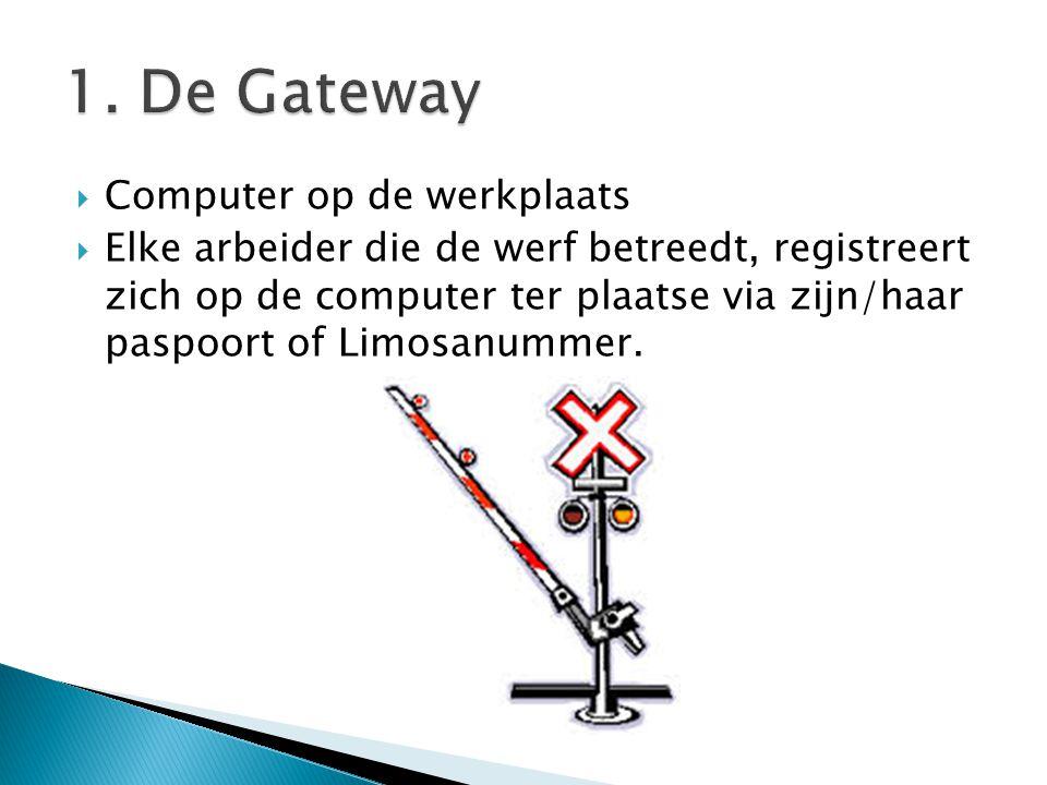  Computer op de werkplaats  Elke arbeider die de werf betreedt, registreert zich op de computer ter plaatse via zijn/haar paspoort of Limosanummer.